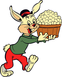 Cartoon rabbit with eggs clipart