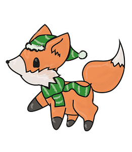 Fox in hat and scarf clipart