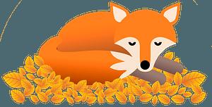 Fox sleeping on yellow leaves clipart