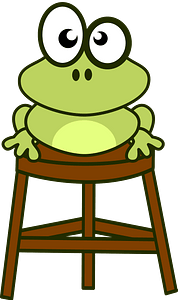Frog on stool clipart