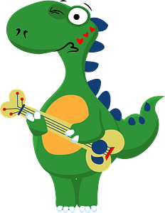 Dinosaur playing guitar clipart