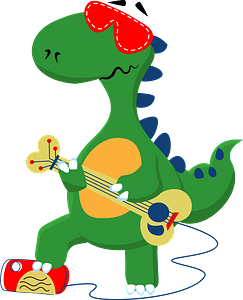 Dinosaur playing music clipart