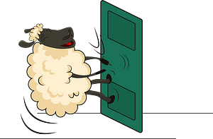 Sheep and door clipart