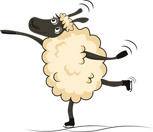 Sheep ice skating clipart