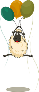 Sheep is flying air balloons clipart