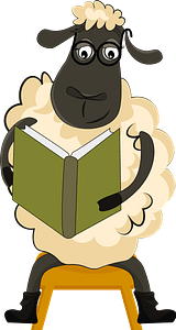 Sheep reading book clipart