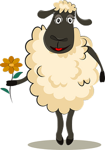 Sheep with flower clipart