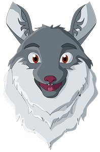 Smiling wolf head clipart