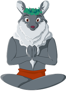 Wolf buddhist in lotus pose clipart