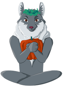 Wolf with a pumpkin in a lotus pose clipart
