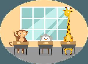 Animals at school clipart