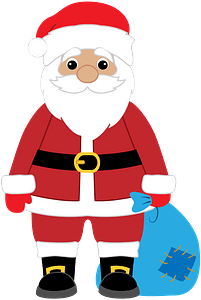 Santa with bag clipart
