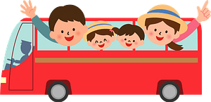 Family traveling by bus clipart