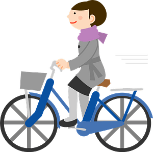 Businesswoman is riding a bicycle clipart
