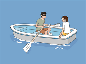 Couple dating boat clipart