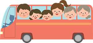 Family travels by bus clipart