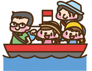 Family travels on a cruise ship clipart
