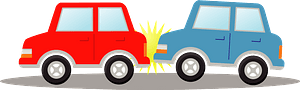 Traffic accident with two cars clipart