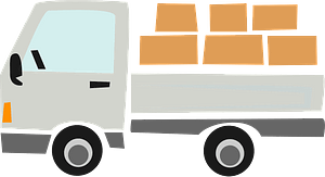 Pick up truck with a load clipart