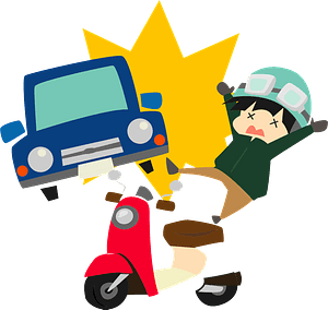 Traffic collision - Car almost hits a boy on a scooter clipart