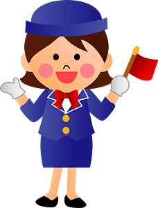 Woman Acting as a Bus Tour Guide clipart
