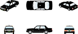 Taxi car - from all angles clipart