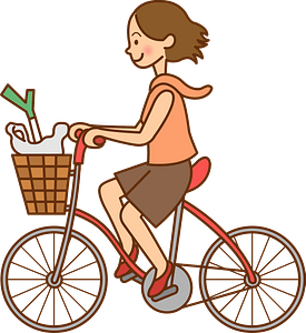Woman is riding her bicycle for shopping clipart
