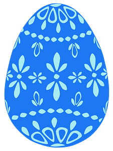 Blue lace easter egg clipart