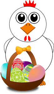 Funny chicken with a basket full of easter eggs clipart