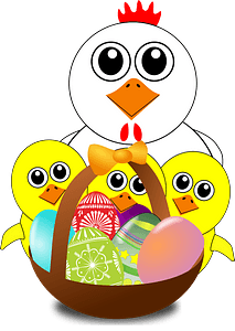 Funny chicken and chicks cartoon easter clipart
