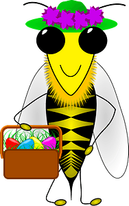 Honey Bee with Easter basket clipart