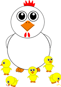 Funny chicken and chicks cartoon clipart