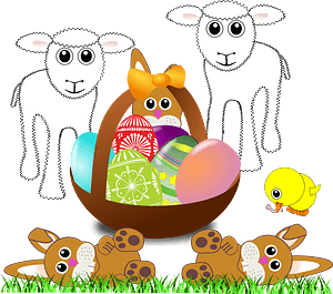 Funny lambs, bunnies and chick with easter eggs in a basket clipart