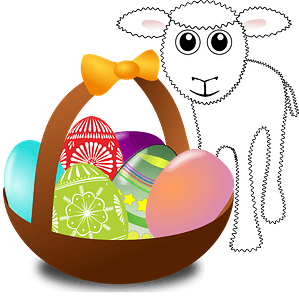 Funny lamb with easter eggs in a basket clipart