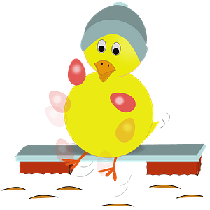 Easter chick kicking eggs clipart
