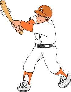 Baseball player batting clipart
