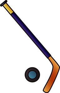 Ice hockey stick and puck clipart