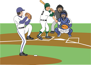 Baseball - Pitcher Pitching to the Left-handed Batter clipart