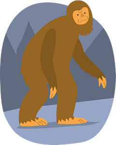 Bigfoot in the forest clipart