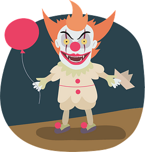 Evil clown clipart