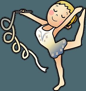 Rhythmic gymnastics with ribbon clipart