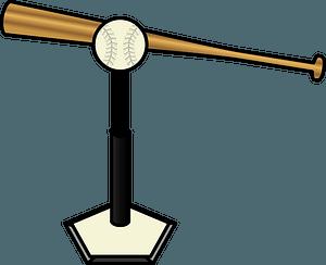 Baseball bat and tee ball clipart
