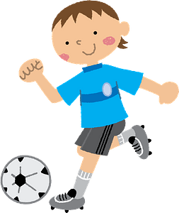 Soccer player is kicking the ball clipart