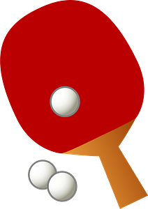 Table tennis paddle and balls clipart