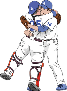 Baseball pitcher and catcher hugging clipart