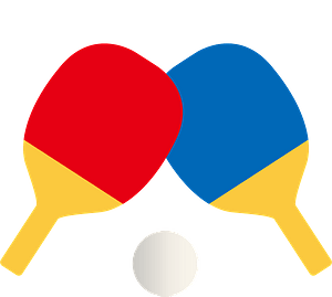 Table tennis paddles and ball clipart