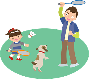 Father and daughter are playing badminton clipart