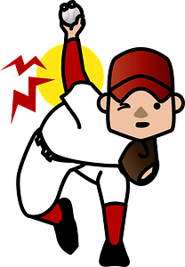 Baseball pitcher has a back injury clipart