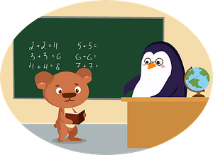 Animals at school - bear and penguin clipart