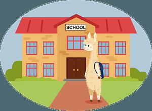 Animals at school - Llama clipart